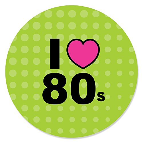 Big Dot of Happiness 80's Retro - Totally 1980s Party Circle Sticker Labels - 24 Count ()