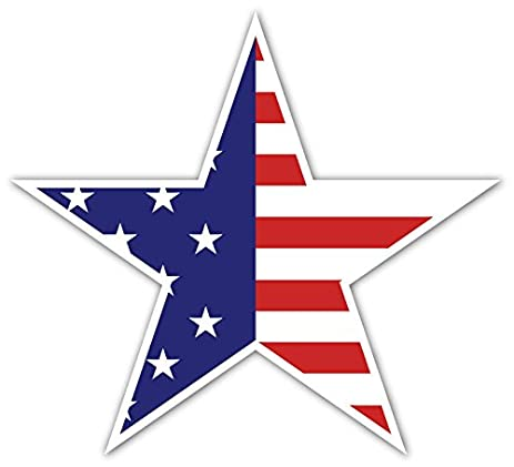 Pack of 5 stickers american us flag star shaped half stars half stripes high