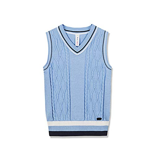(Benito & Benita Boys Uniform Vest V-Neck Sweater Vest Sleeveless Kinted School Sweater for Boys/Girls Homecoming Gift Light Blue)
