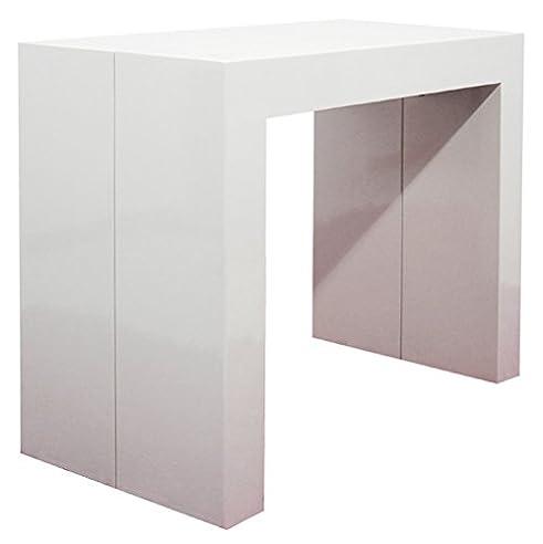 rr design erweiterbar asien bemalt konsole tisch ausziehbar bis 300 cm glossy white - Erweiterbare Konsole Esstisch