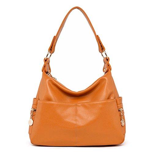 Yellow Hobo Handbag (Lustear Leather Purse Shoulder Bag Hobo Style Handbags for Ladies (Bright Yellow))