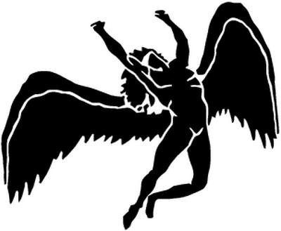 (BEARGRAPHIX Led Zeppelin Angel Rock Band Decal Sticker Car Motorcycle Truck Bumper Window Laptop Wall Décor Size- 12 Inch Wide Gloss Black Color)
