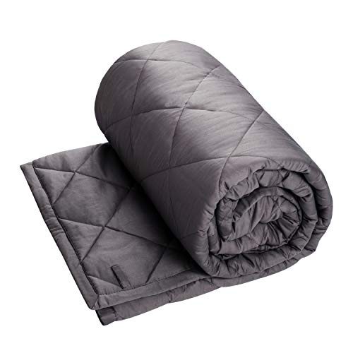 CALA LIFE Weighted Blanket 5lbs,36x48 Inchs,Heavy Blanket for Kids About 30-70 lbs,Natural Cotton Material with Glass Beads,Blankets 2.0, Dark Gray