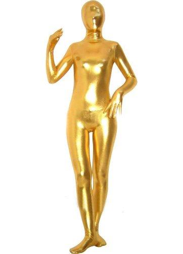 - 41NWRxVokuL - WOLF UNITARD Women's Shiny Metallic Zentai Catsuit