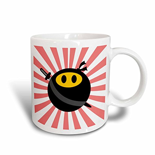 3dRose mug_123168_1 Ninja Smiley Face Masked Yellow Happy Face Black Mask and Sword Japan Red Sunburst Starburst Ceramic Mug, 11-Ounce, White