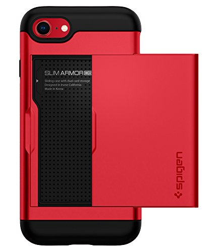 Spigen Slim Armor CS Designed for Apple iPhone 8 Case (2017) / Designed for iPhone 7 Case (2016) - Red (Cash For Used And Broken Cell Phones)