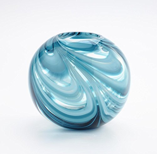 ass Murano Art Style Vase Bowl Blue Clear Italian Decorative ()