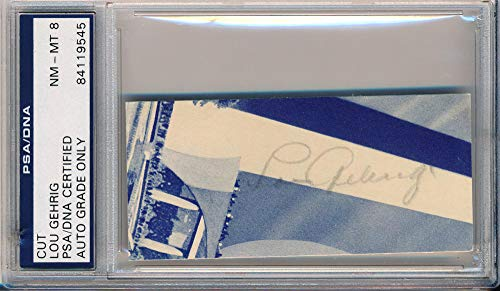 Rare Lou Gehrig Signed Restaurant Menu. PSA. NM-MT 8. from Brigandi Coins and Collectibles