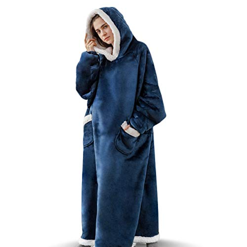 Bedsure Long Wearable Blanket, Sherpa Blanket Hoodie, Standard Blanket Sweatshirt with Deep Pockets and Sleeves for Adults Kids Teen, Navy