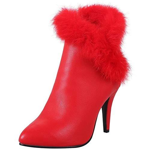 RAZAMAZA Donne Moda Stivali Tacco Corti Rosso Alto n0r0qUCwW