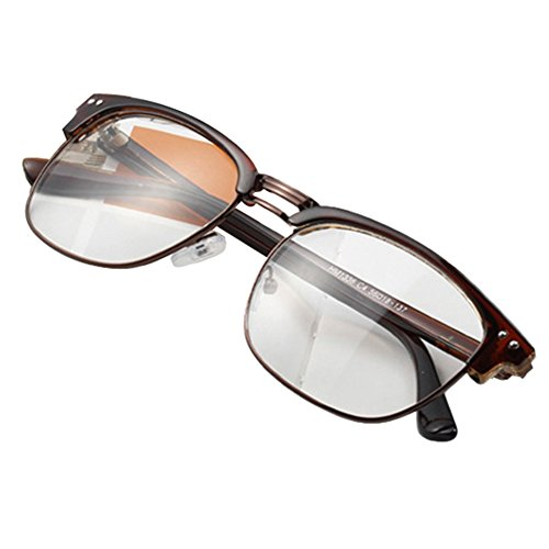 Daxin Unisex Hipster Vintage Retro Classic Half Frame Glasses Clear Lens Nerd Eyewear - Glasses Hipster Brown