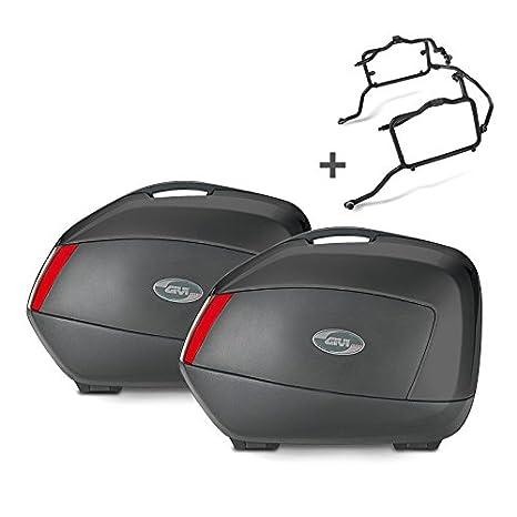 Juego de maletas laterales Set Yamaha FZ6 04-06 Givi Monokey V35N negro 35 litro: Amazon.es: Coche y moto