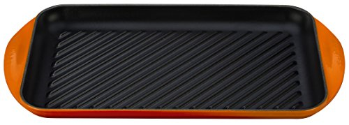 Le Creuset of America Enameled Cast Iron Double Burner Grill, 15 3/4'' x 9'' x 1''/X-Large, Flame by Le Creuset