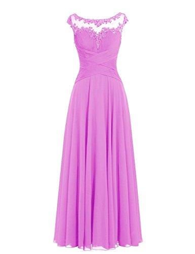 Lang Chiffon A Orchidee Brautjungfernkleider Linie Ballkleider Hochzeitskleider Abendkleider 5AIwq5B