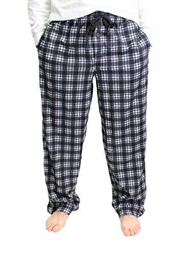 Fruit of the Loom Men's Fleece Sleep Pant (Large, White/Black/Grey)