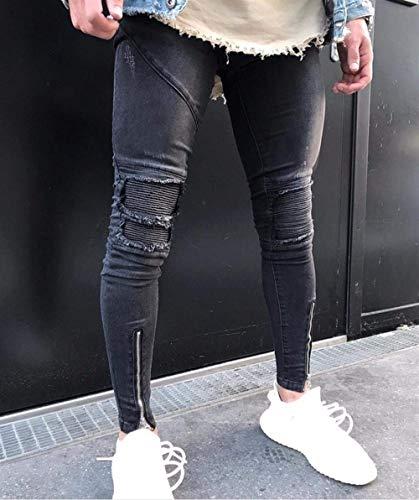 Casual Con Pantaloni Eleganti Stretch Glich Skinny Treno Nero Especial Fit Jeans Da Estilo Piegati In Denim Uomo Slim Pieghe qwRFgqHT