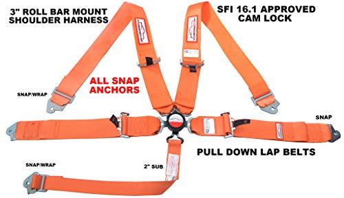 RACERDIRECT SNAP 5 Point Race Harness SFI 16.1 CAM Lock 3