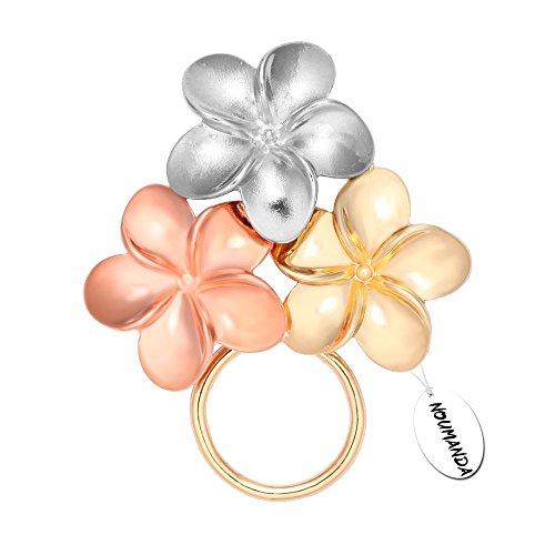 NOUMANDA Gold Silver and Rose Gold Three Blossom Magnetic Eyeglass Holder Brooch - Eyeglasses Of Names