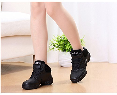 Platform Dance air Men Black for Yao cushion Jazz Genuine Dance White Black Shoes Jazz Professional Shoes Women Leather Shoes qvTqw64PR