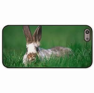 iPhone 5 5S Black Hardshell Case rabbit ears grass hide seek Desin Images Protector Back Cover