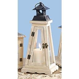 Lantern - Lighthouse - Wood - White - 6.69 x 6.69 x 14.96 inches
