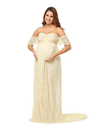 JustVH Women's Off Shoulder Ruffle Sleeve Lace Maternity Gown Maxi Photography Dress Beige