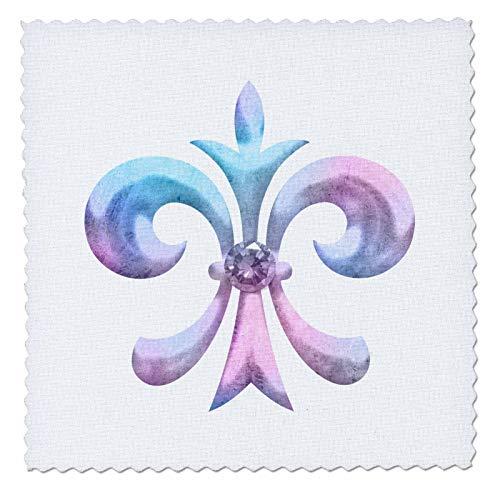 (3dRose Anne Marie Baugh - Design - Pink and Blue Gradient Fleur De Lis Illustration - 18x18 inch quilt square)