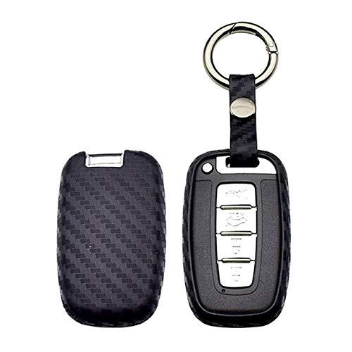 WFMJ Black Carbon Fiber Silicone 3 4 Buttons Remote Smart Key Chain Holder Cover Case for Hyundai Equus Genesis Coupe Sonata Veloster Elantra GT Tucson i40 ix35 i45 Avante