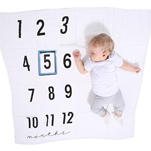 Monthly Milestone Blanket Frame Photo Props -Two Layers Muslin Thick Blanket For Babies Boy Girl Newborn Infant For Each Month-Large 47