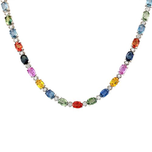 35.2 Carat Natural Multicolor Ceylon Sapphire and Diamond (F-G Color, VS1-VS2 Clarity) 14K White Gold Luxury Tennis Necklace for Women Exclusively Handcrafted in USA (14k Sapphire Multi Color)