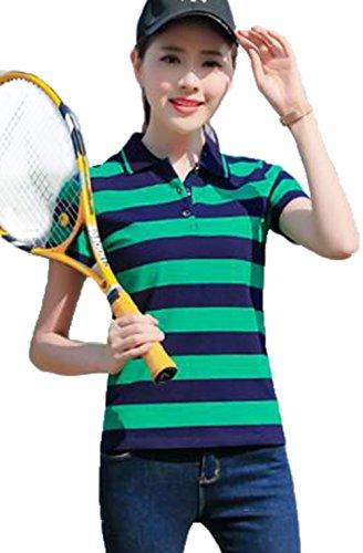 [グードコ] レディース ポロシャツ トップス 半袖 ゴルフシャツ ボーダー カットソー 折り襟 バイカラー 着痩せ スポーツ