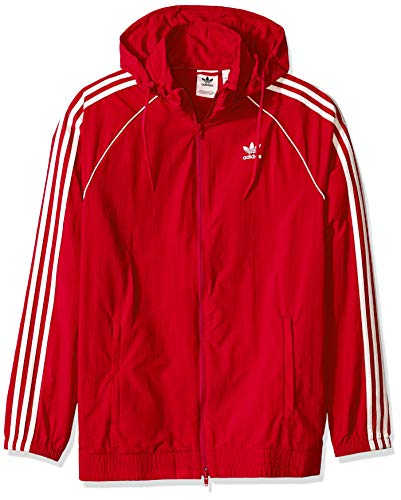 - adidas Originals Men's Superstar Windbreaker, Power red, Large
