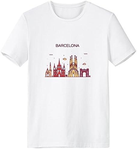 DIYthinker Barcelona, España Plana Landmark Escote De Patrón De La Camiseta Blanca Primavera Y El Verano De Tagless La Comodidad del Algodón Se Divierte Las Camisetas: Amazon.es: Deportes y aire libre