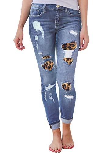 Sidefeel Women Leopard-Patched Distressed Skinny Jeans X-Large Blue