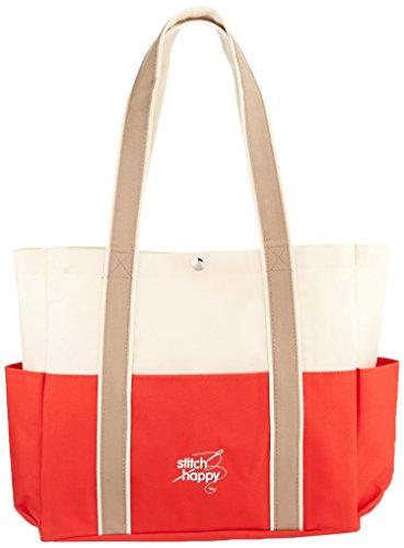 K1C2Stitch Happy Three Pocket Tote 12.5x 14x 4–inch, rosso