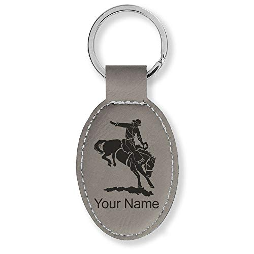 (Oval Keychain, Bronco Rider, Personalized Engraving Included (Gray))