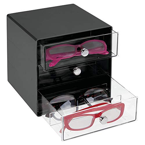 mDesign Stackable Plastic Eye Glass Storage Organizer Box Holder for Sunglasses, Reading Glasses, Accessories - 3 Divided Drawers, Chrome Pulls - Black/Clear