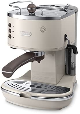 De'Longhi Icona Vintage Espresso Siebträgermaschine KBOV2001.BG - mit professioneller Milchaufschäumdüse, 15 bar, 1,4 l, auch für Pads geeignet, Edelstahl in Retro Look mit Chrom-Details, beige