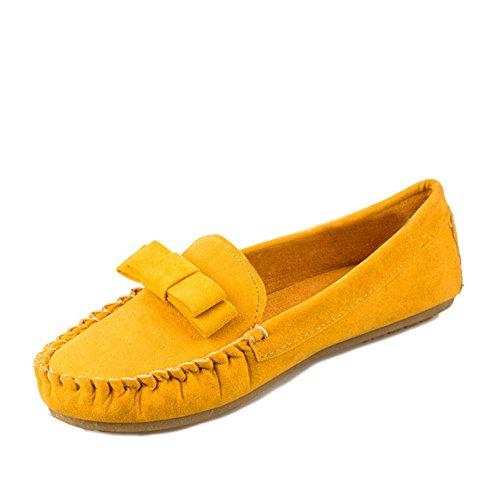 Gaorui Mujer Lady Bow Suede Ballet Pisos Slip On Comfort Mocasines Casual Guante Barco Zapatos Amarillo