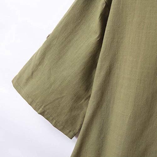Alangbudu Women's Half Sleeve Tunic Dress V Neck Loose Swing Shift Linen Dresses Green by Alangbudu-Dresses (Image #5)