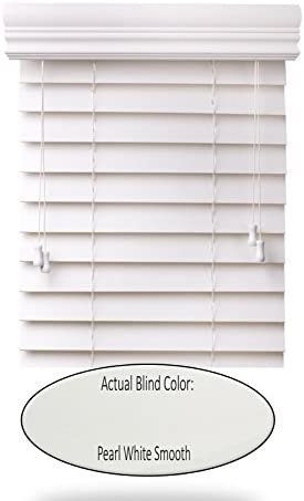 spotblinds Custom Cut to Size 2 Premium Faux Wood Blinds from 51 Wide to 60 Long Color Pearl White Smooth 59 W x 56 L