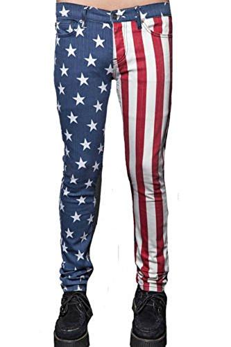 Lip Service Rockers (Lip Service Rocker USA 4th of July American Flag Print Men's Skinny Jeans Pants (34))