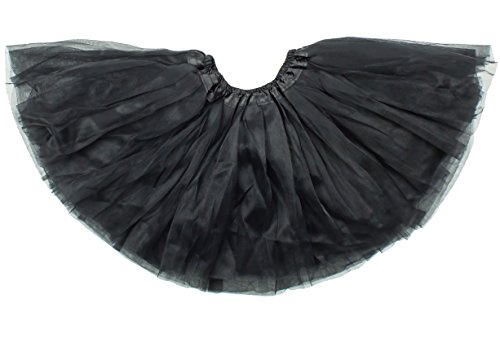 Dancina Tutu Girls' 3 Layer Soft Classic Cosplay School Play Outfit Accessory 2-7 Years Black -