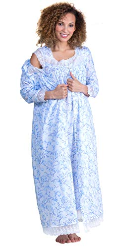 Eileen West Peignoir Set Cap Sleeve Cotton Gown and Robe in Floral Darling (White/Blue Floral, Large)