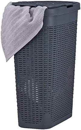 Amazon Com Superio Narrow Laundry Hamper 40 Liter With Easy Lid Slim And Tall Grey Durable Wicker Hamper Washing Bin With Cutout Handles Dirty Cloths Storage In Bathroom Or Bedroom Apartment Dorms
