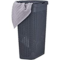 Superio Narrow Laundry Hamper 40 Liter With Easy Lid, Slim and Tall, Grey Durable Wicker Hamper, Washing Bin with Cutout…