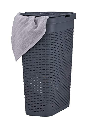 Superio Narrow Laundry Hamper 40 Liter With Easy Lid, Slim and Tall, Grey Durable Wicker Hamper, Washing Bin with Cutout Handles - Dirty Cloths Storage in Bathroom or Bedroom Apartment, Dorms (Wicker Baskets Washing)