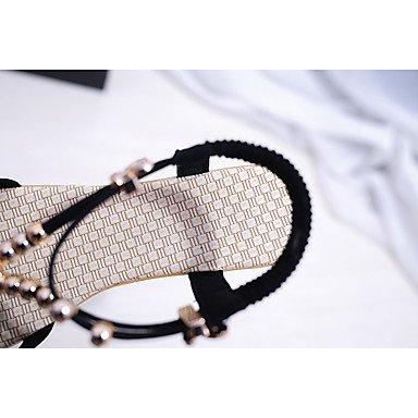 LvYuan Mujer-Tacón Plano-Talón Descubierto Gladiador-Sandalias-Exterior Oficina y Trabajo Vestido Informal-PU-Negro Gris gray