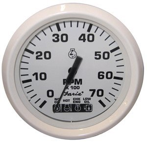 Faria Dress White 4'' Tachometer w/Systemcheck Indicator - 7,000 RPM (Gas - Johnson/Evinrude Outboard) (54665) by Faria Beede Instruments