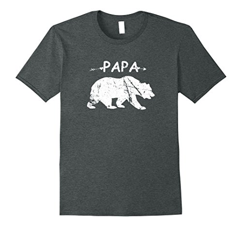 Mens Best Papa Bear T-shirt Funny Gift Father's Day Tee Men Emoji XL Dark Heather